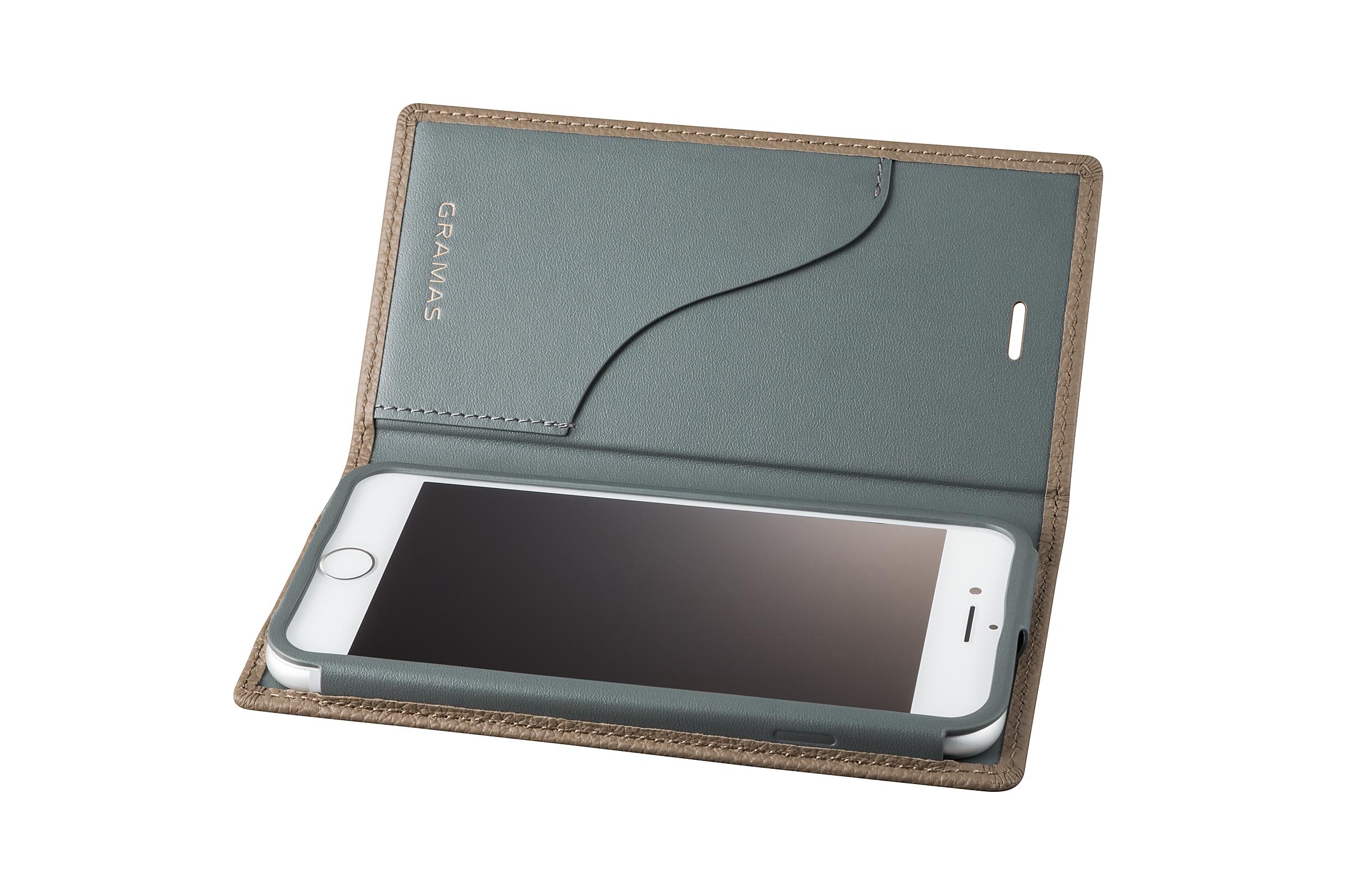 GRAMAS Shrunken-calf Full Leather Case for iPhone 7(Taupe(トープ)) シュランケンカーフ 手帳型フルレザーケース GLC646TP - 画像3