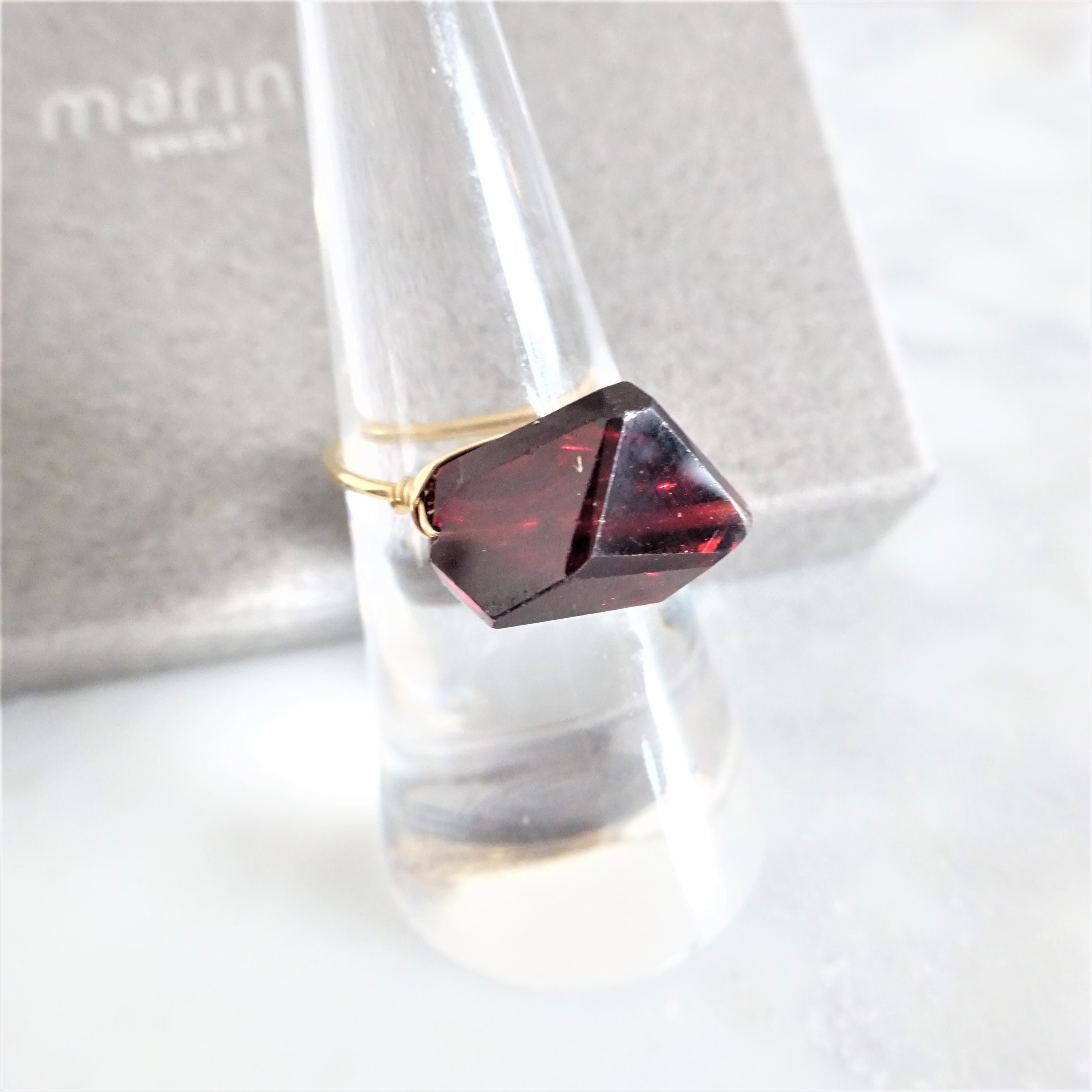 ギフト包装付14kgf*AAA Garnet wrapped ring #9~#13