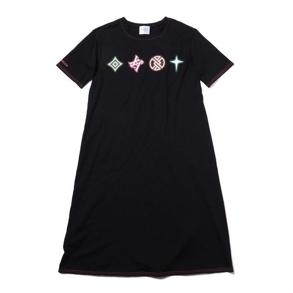 【FLOWER by RADIO EVA 021】EVA Big Monogram Neon T-Shirt Dress  BLACK /  EVANGELION エヴァンゲリオン
