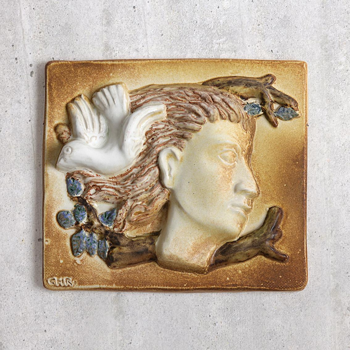 Christian Thorup クリスチャン トールップ鳩と青年の陶板 北欧ヴィンテージ