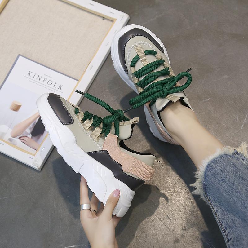 【shoes】カジュアル丸トゥPU切り替えし厚底スニーカー15003873
