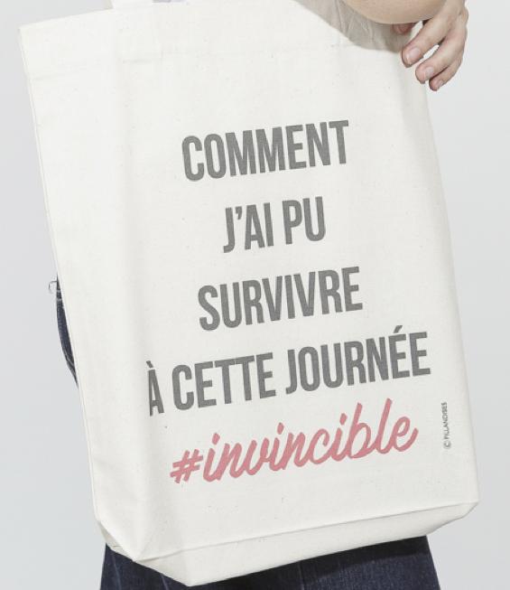 フランス小物 オーガニック・コットン製 トートバッグ『#INVINCIBLE』