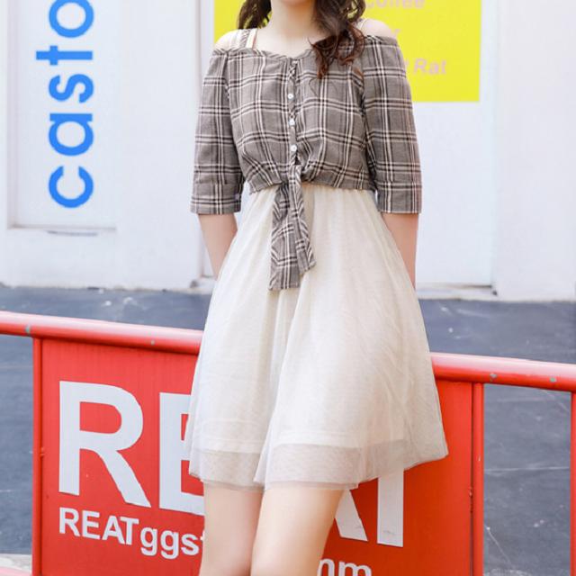 人気&売れ筋☆2018☆ ストラップドレス メッシュスカート 格子柄 人気 かわいい おしゃれ  シック