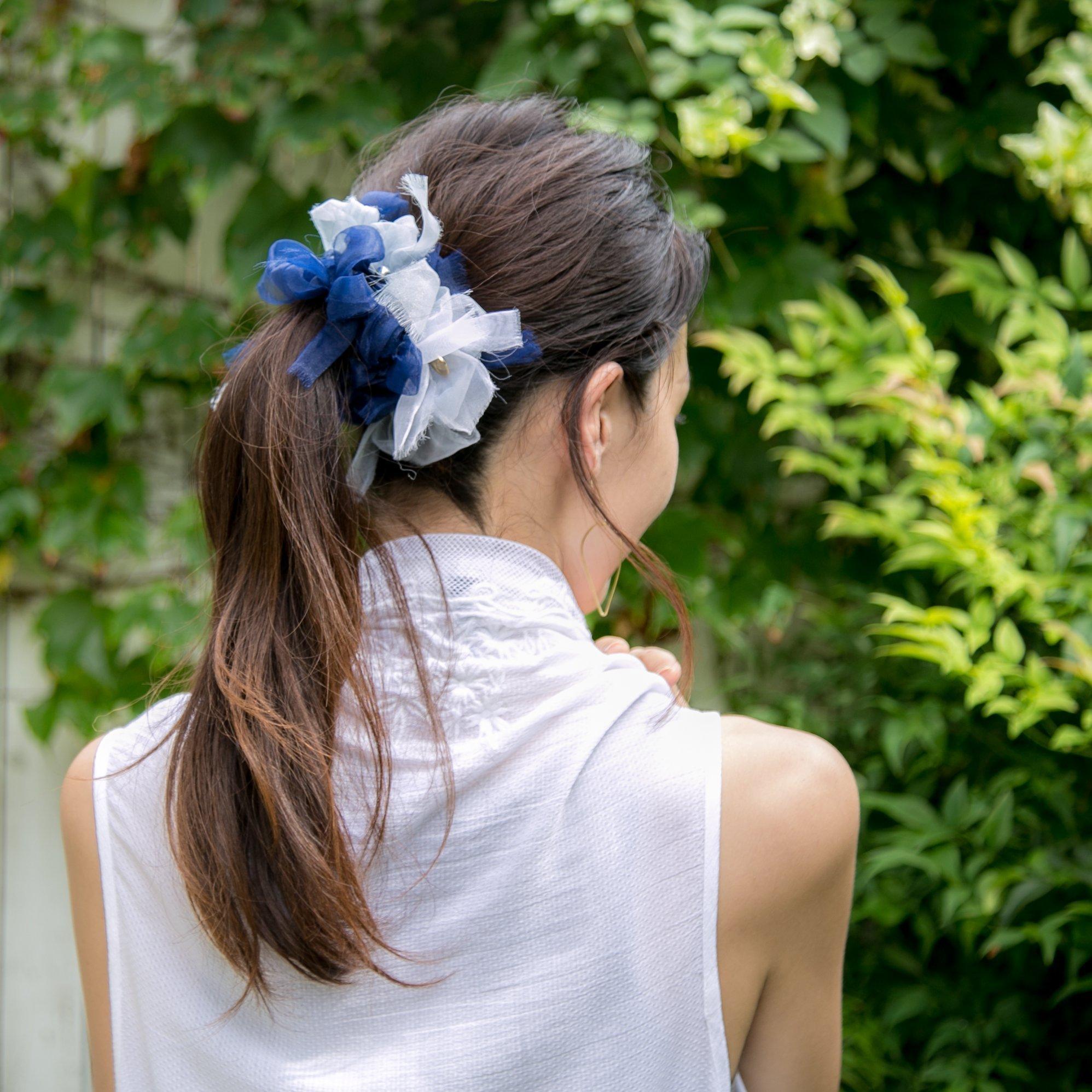 Marine~彩る咲き編みシュシュ