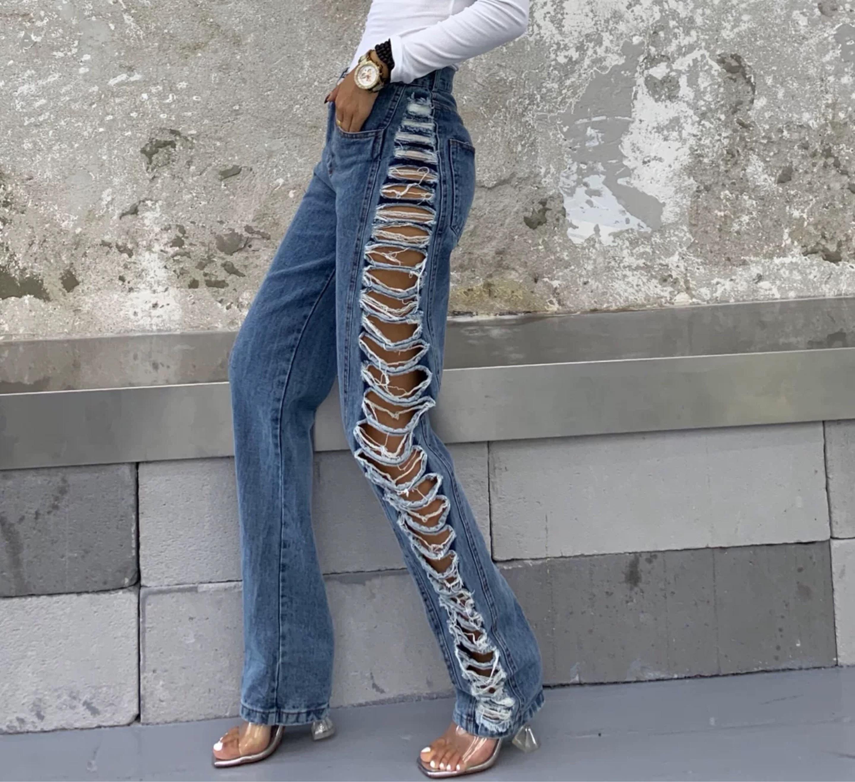 side high damage pants