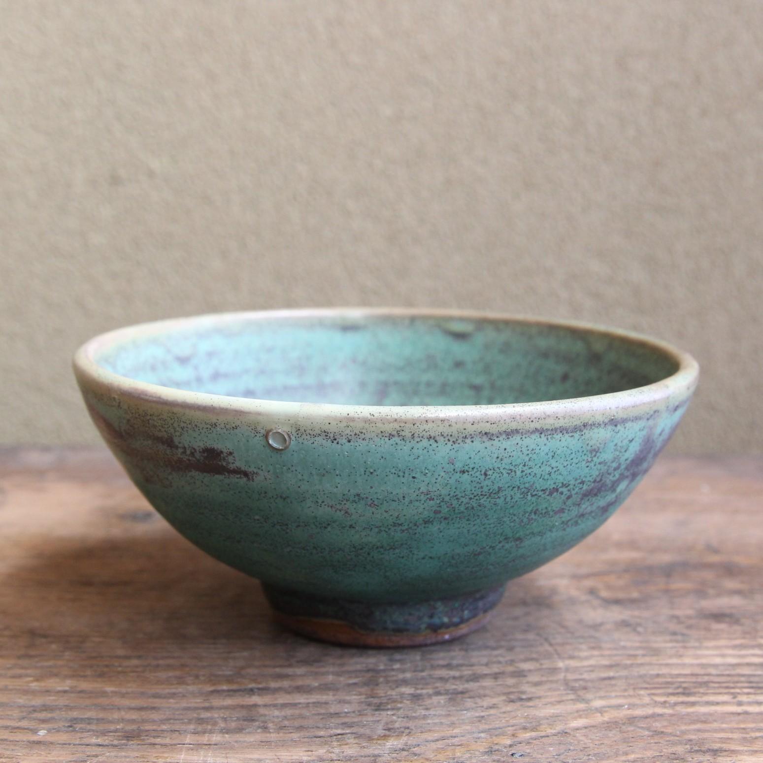 緑青色 渦巻小鉢