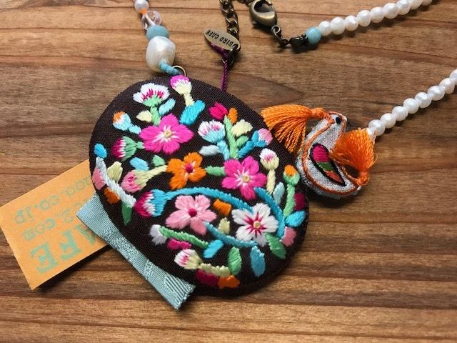 韓国刺繍のロングネックレス 鳥~BIRD CAFE~