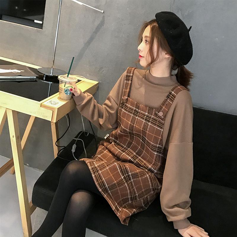 【送料無料】 おしゃれなチェック柄コーデ♡ ハイネック ボリューム袖 カットソー & チェック ジャンパースカート セットアップ