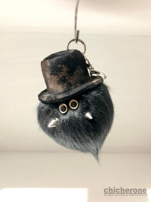【MAMEDENQ】モコモコノコ いぶし柄HAT×ブラック