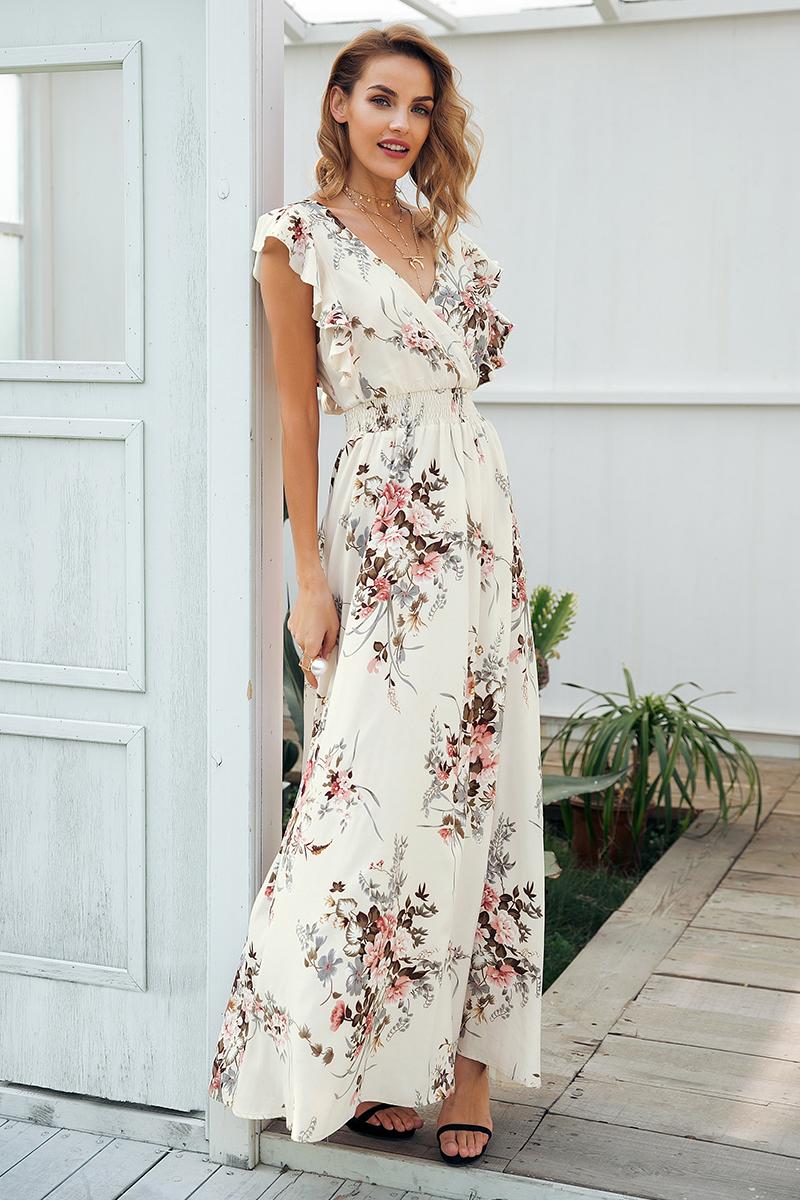 サマードレス Vネック バッククロス 花柄 ワンピース バックリボン フリル マキシドレス ノースリーブ 夏