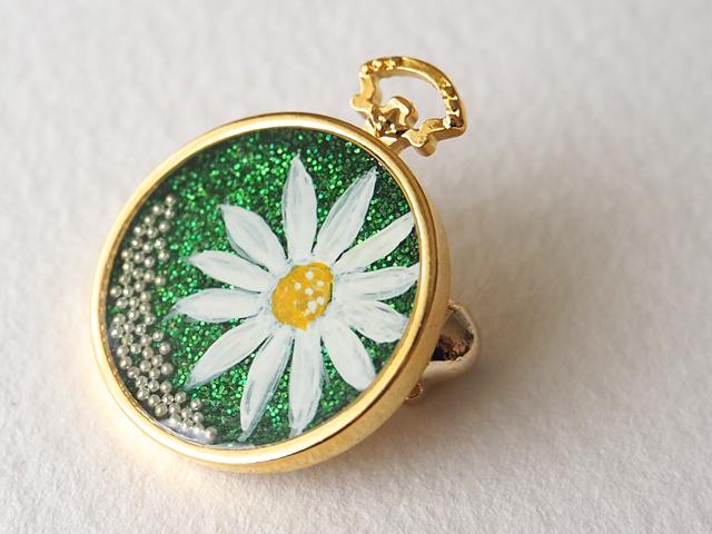 小さなお花の手描き絵ブローチ<green>