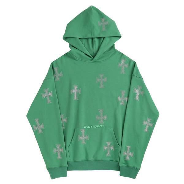UNKNOWN Green Cross Rhinestone Hoodie GREEN