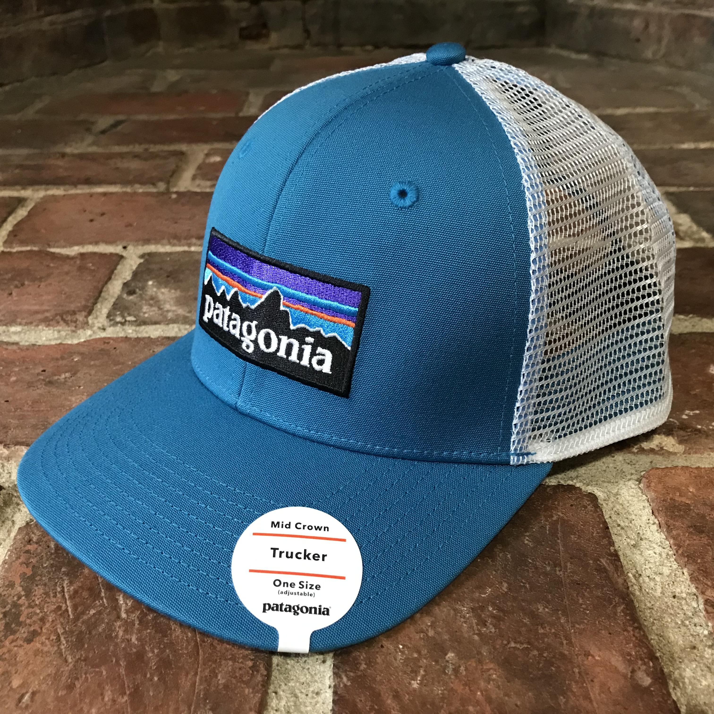 新品 Patagonia MESH CAP パタゴニア ロゴ入りエンブレム キャップ メッシュ ブルー メンズ レディース アウトドア ベースボール  帽子 ぼうし 正規品