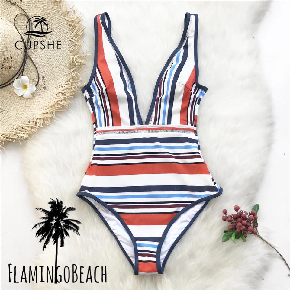 【FlamingoBeach】color stripe monokini モノキニ