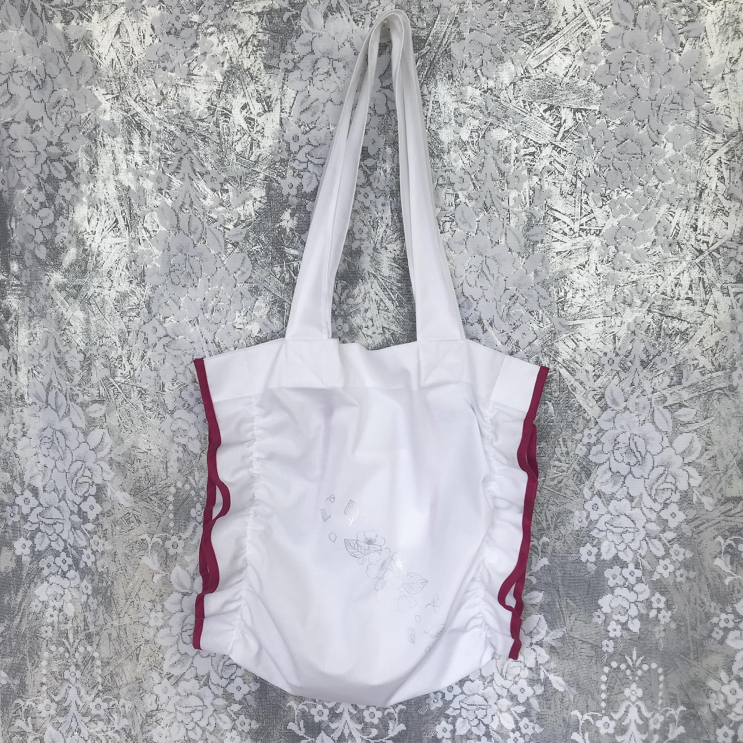 Shirring tote bag〈White×Pink〉