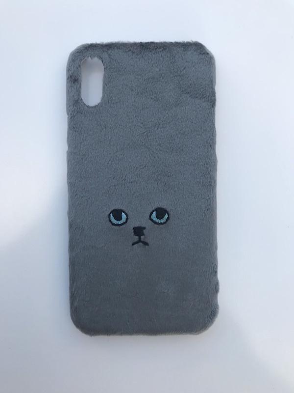【iPhoneX専用】ネコiPhoneケース【グレー】