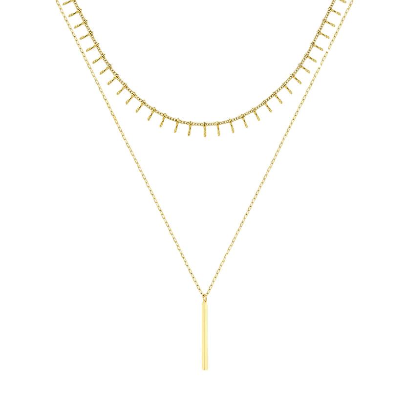 bar chain layered necklace