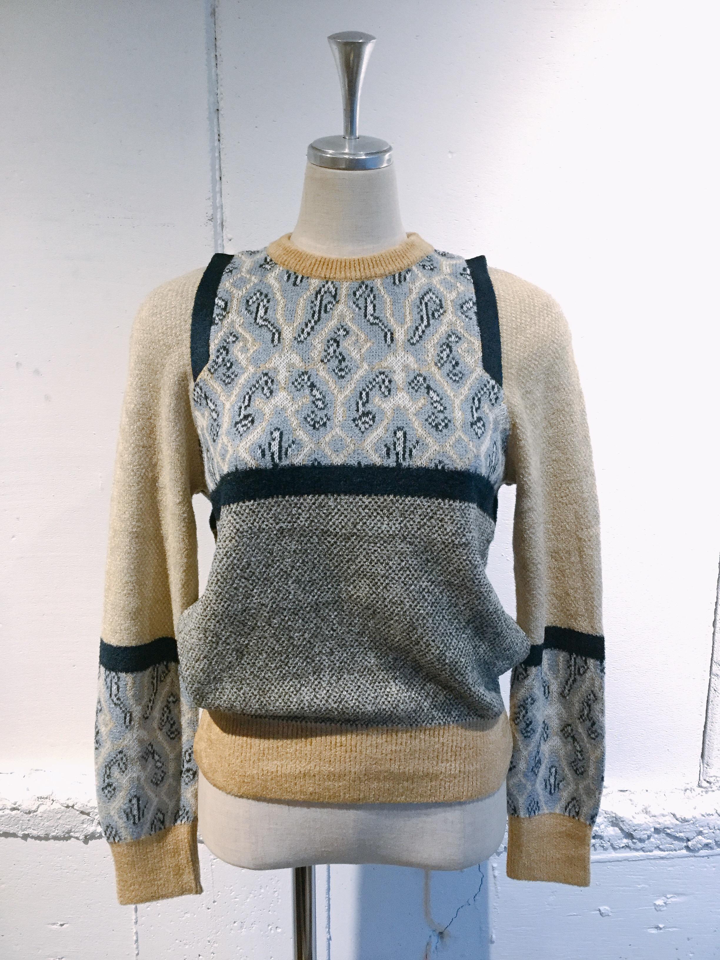 NAIFE Paneled jacqurd pullover