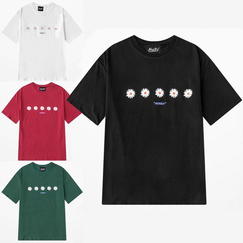 ユニセックス 半袖 Tシャツ メンズ レディース シンプル 5輪の花 フラワープリント オーバーサイズ 大きいサイズ ルーズ ストリート