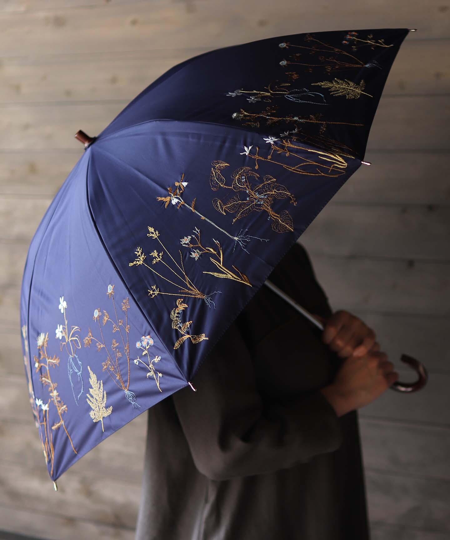【ボタニカル刺繍】晴雨兼用日傘 長傘タイプ(ELS47)