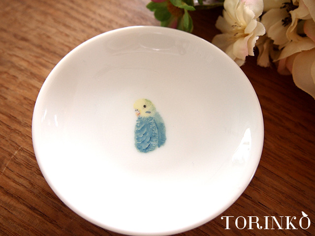 セキセイインコ ブルーA(横向き) お皿 小サイズ