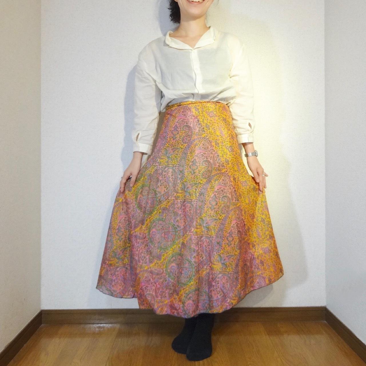 vdsl-091 ビンテージシルクサリー巻きスカートロング 【松毬萌黄】
