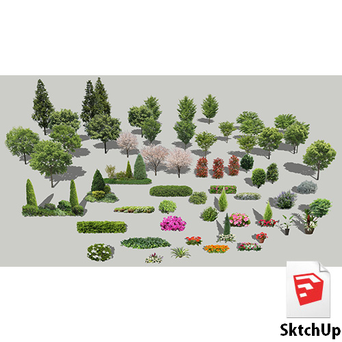 樹木セットSketchUp 4t_set_01 - 画像1