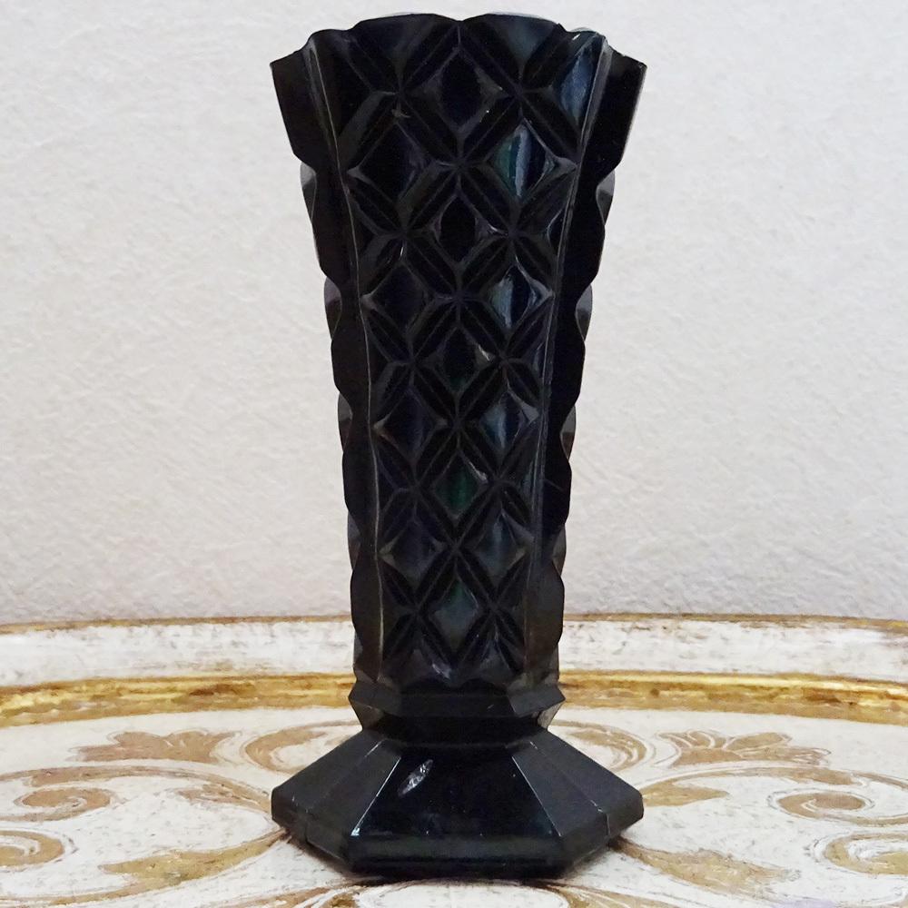 チェコスロバキア オニキスガラスの花瓶