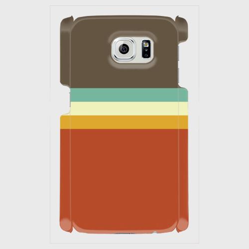 レトロストライプ(暗灰・水・薄緑・橙) / Androidスマホケース(ハードケース)