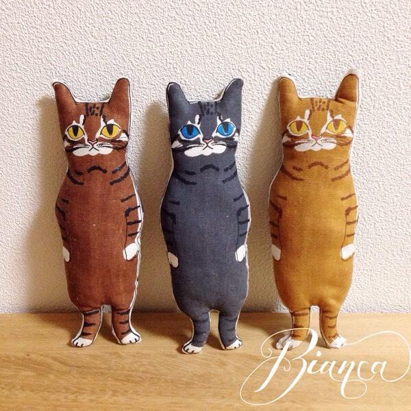 <受注制作>トラ猫三姉妹(オレンジ・ブラウン・グレー)からお選びください。