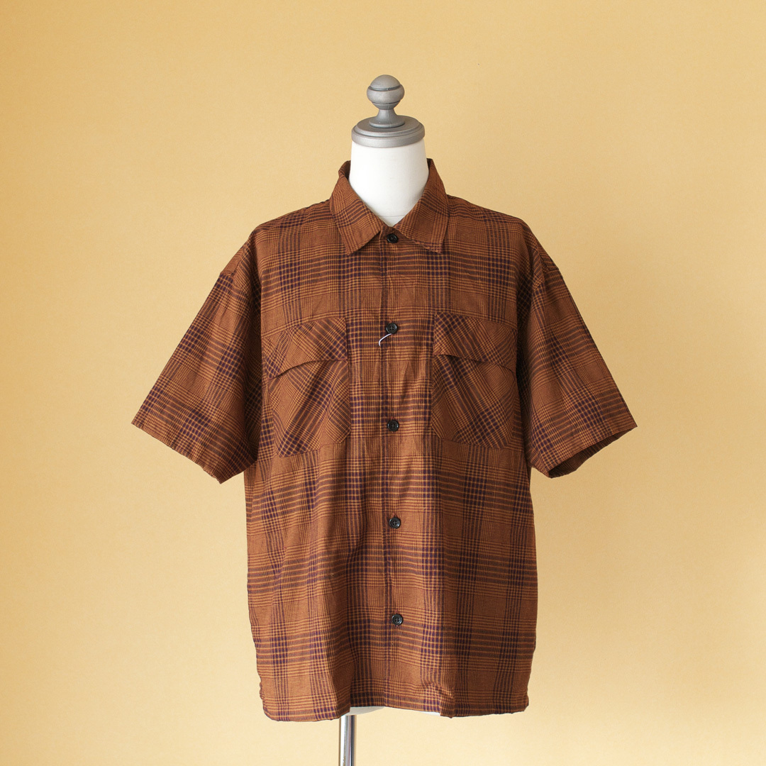 Manual Alphabet マニュアルアルファベット check work shirt チェックワークシャツ・ブラウン