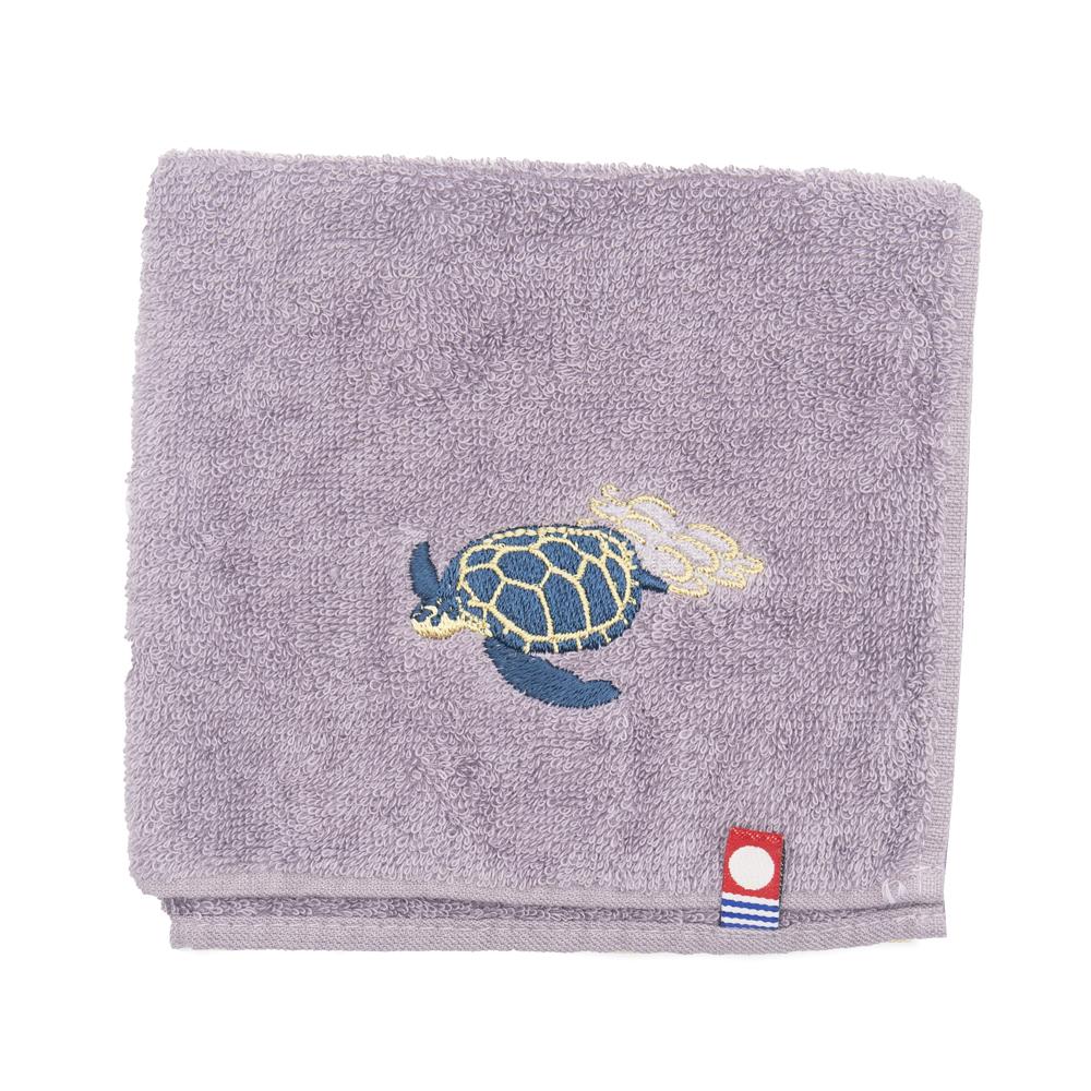 アオウミガメ刺繍のタオルハンカチ|今治タオル