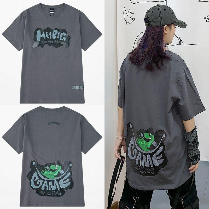 ユニセックス 半袖 Tシャツ メンズ レディース ロゴ 英字 GAME TIME ダイナソー プリント オーバーサイズ 大きいサイズ ルーズ ストリート