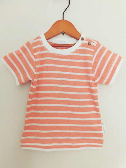 オーガニックコットン オレンジストライプ半袖レイヤードTシャツ ベビー服 【purebaby】