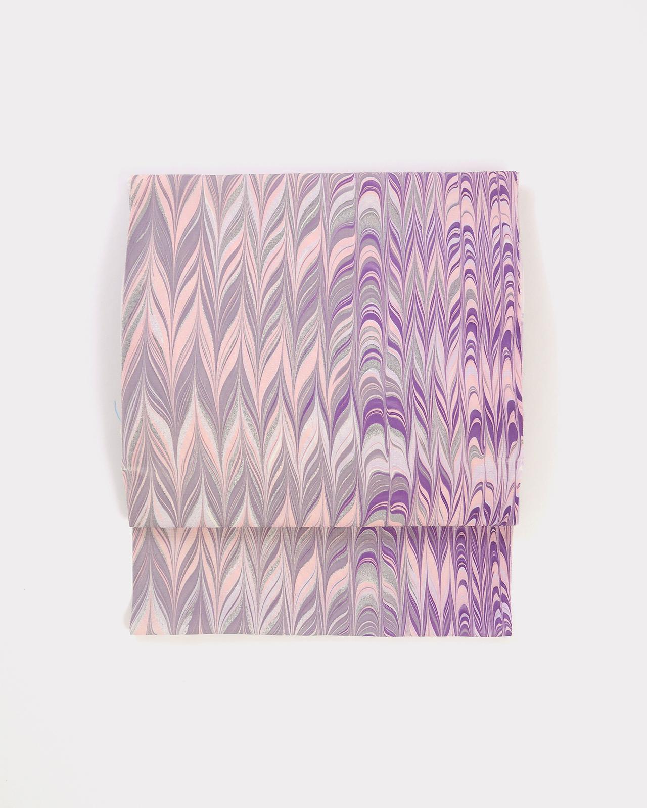 正絹名古屋帯 矢羽根 薄紅×灰桜×葡萄紫《仕立て込み》
