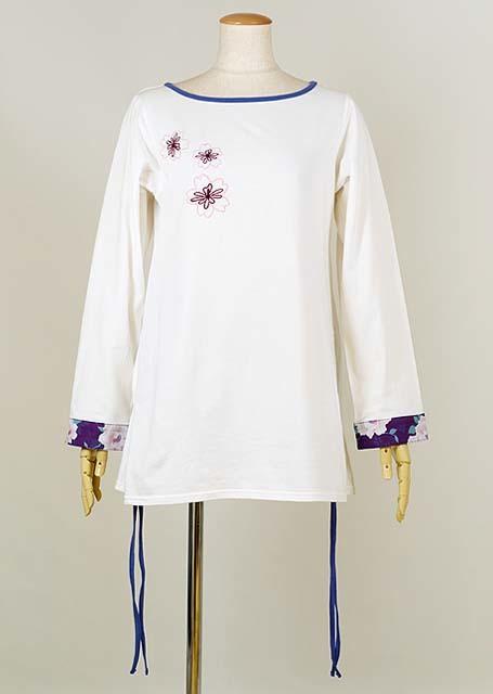 gouk 桜の刺繍が入った両脇をあげて表情が変わるトップス 白 GGD27-T021 WH/M