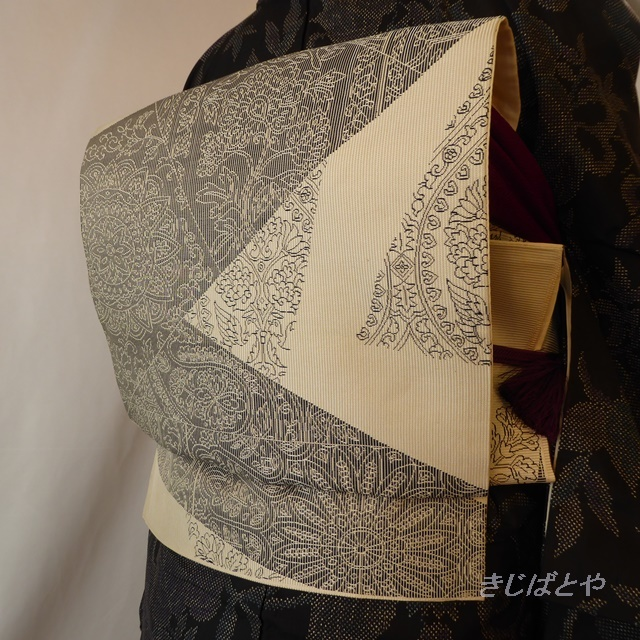 【F様ご予約品】正絹 モノトーンの博多帯