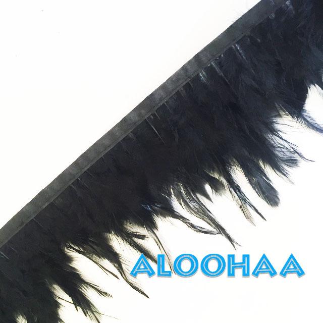 フェザーロール【ブラック】単色10-15cm丈 1m DIY 羽 衣装材料 タヒチアン