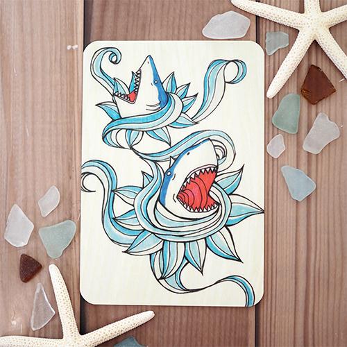 ウッドポストカード(Shark)