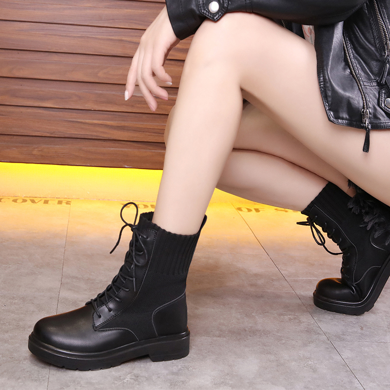 【shoes】ファッション切り替え丸トゥブーツ23284193