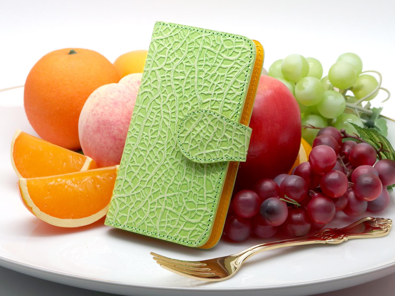 メロンな手帳型スマホケース(夕張メロン色/クラウンメロン色) iphone6 6s 7 8 多機種対応、牛革製