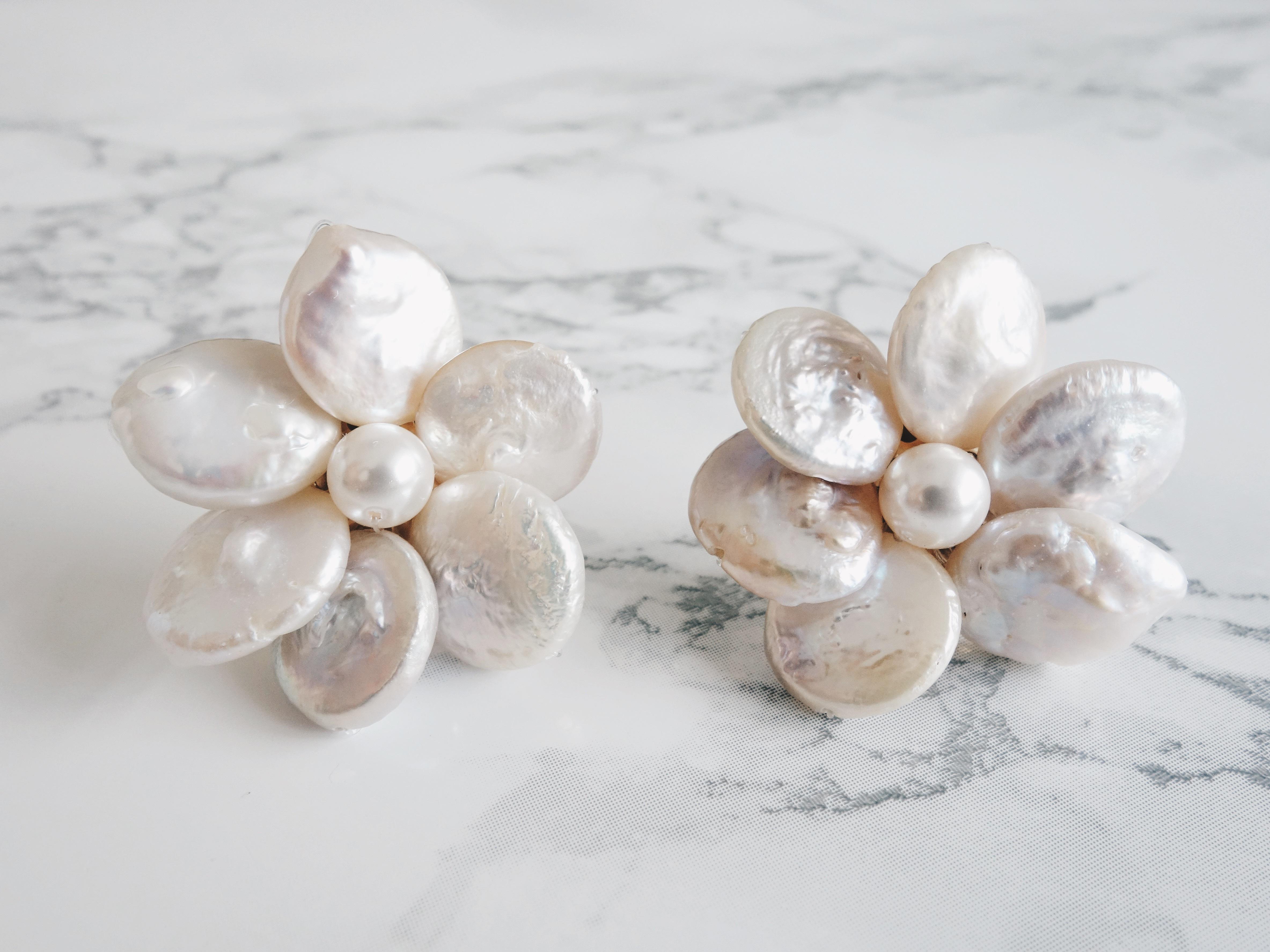 coin pearl flower pierce,earring