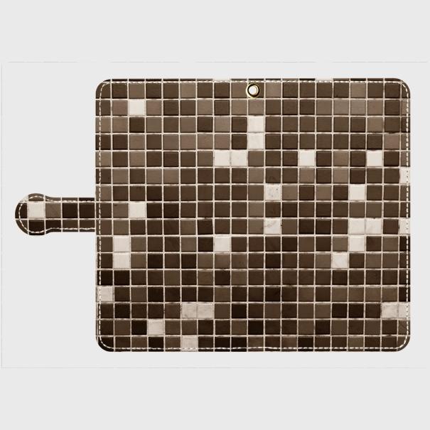 モザイクタイル(黒)/ Androidスマホケース(手帳型ケース)