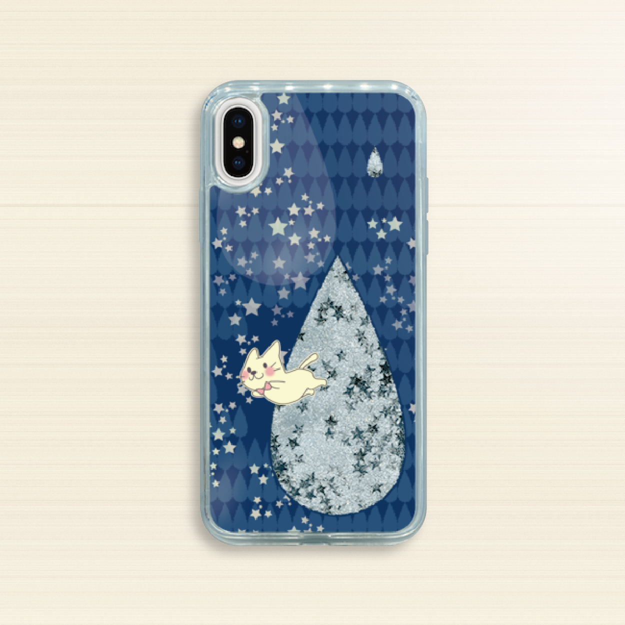 iPhone X/XS/6/6s/7/8*グリッターケース*19-12AGSo*月光雨のねこ*シルバースター