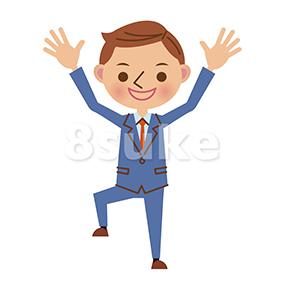 イラスト素材:バンザイをする若いビジネスマン(ベクター・JPG)