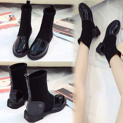 ソックス ブーツ 秋冬 新しいデザイン イングランド ブーツ フラット女性 韓国風  N0104005