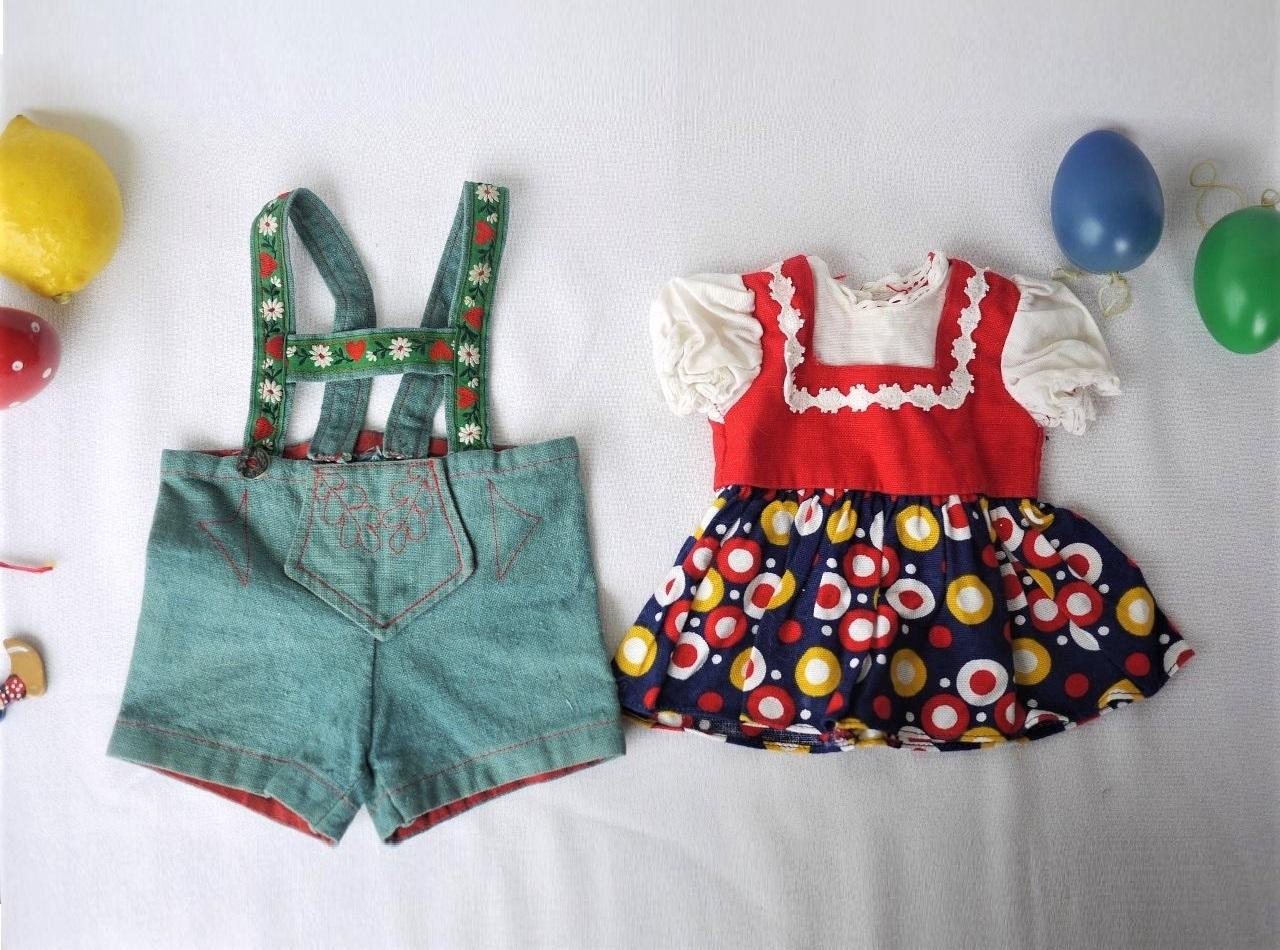 ドイツ 人形のお洋服 レトロ チロリアン 民族衣装 ディアンドル レダーホーゼン 南ドイツ