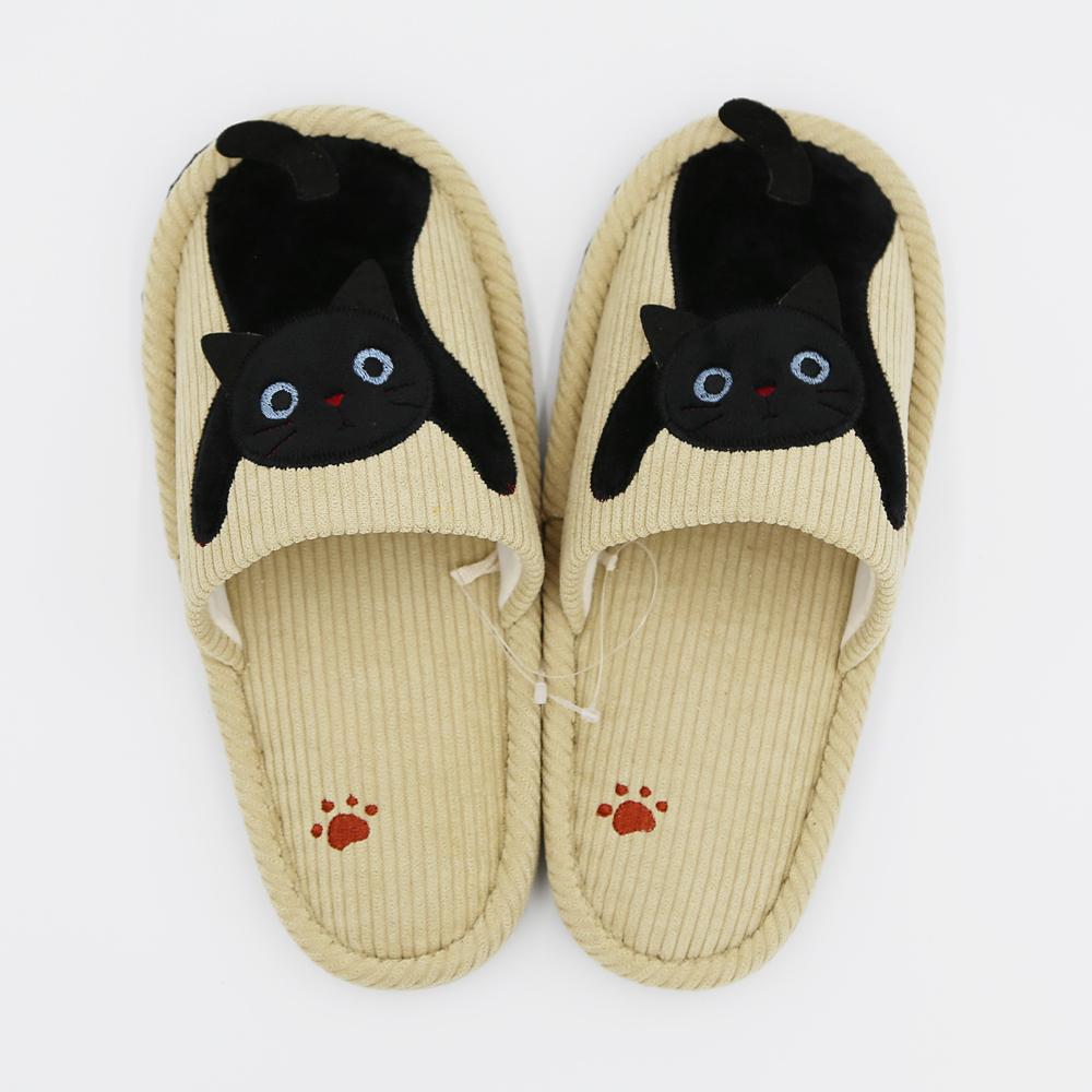 猫スリッパ(トリオキャットスリッパコーデュロイ)ベージュ