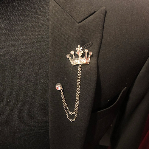 王冠チェーン ラペルピン