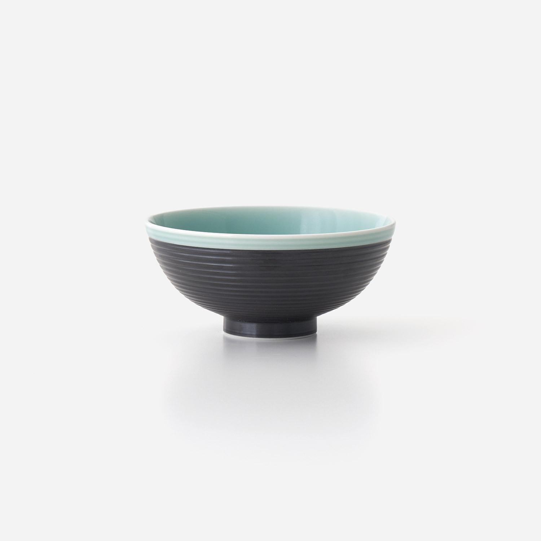 青磁黒彩 飯碗(小)